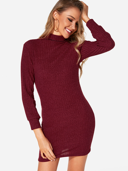 Burgundy Plain Turtleneck Long Sleeves Sweater Dress