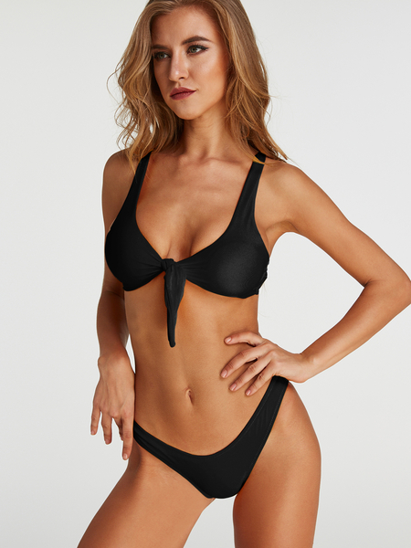 Tie-up Front Two-piece Bikinis Set in Black