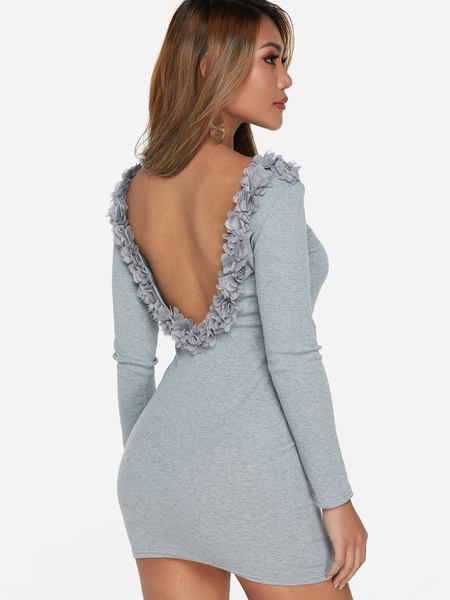 Grey Backless Lace Details Round Neck Long Sleeves Dress