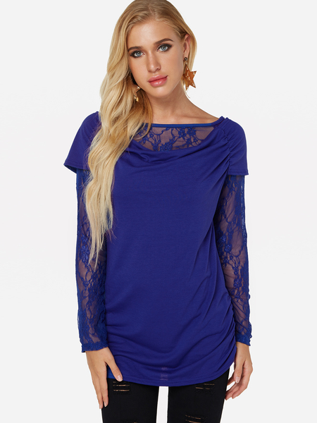 Blue Lace Insert Round Neck Long Sleeves Blouses