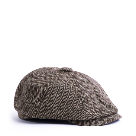 Coffee Tweed Flat Cap Outdoor Casual Warm Comfortable Cabbie Hat