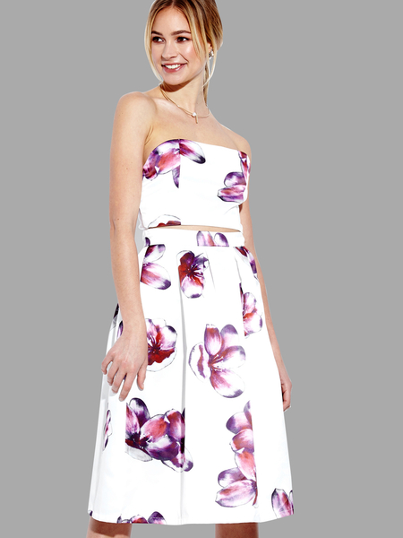 White Sexy Random Floral Print Cut Out Midi Dress