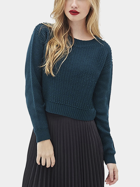 Navy Round Collar Dropped Shoulder Knit Sweater