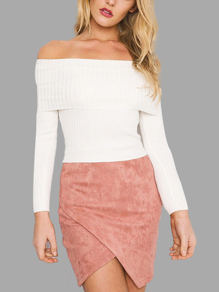 White Sexy Off Shoulder Long Sleeves Jumper