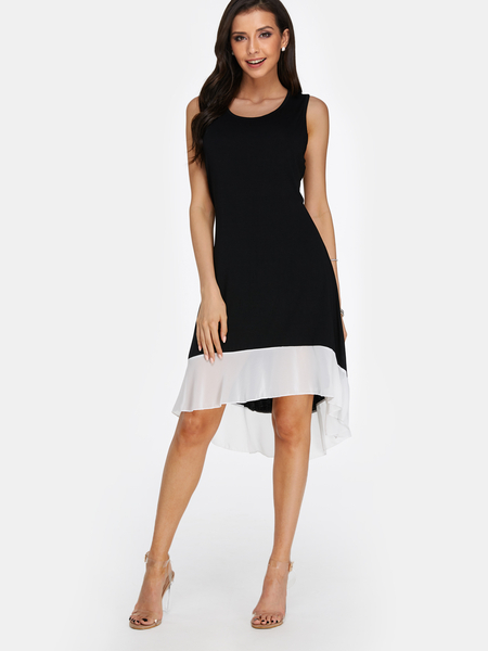 Black Round Neck Sleeveless Stitching Flounced Hem Dress