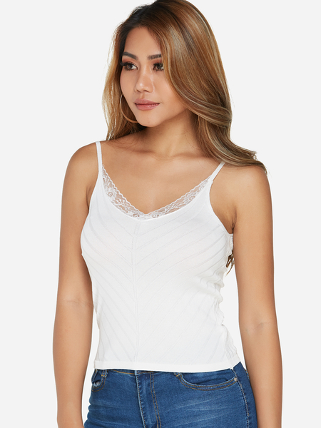 White Lace Trim V-neck Sleeveless Camis Top