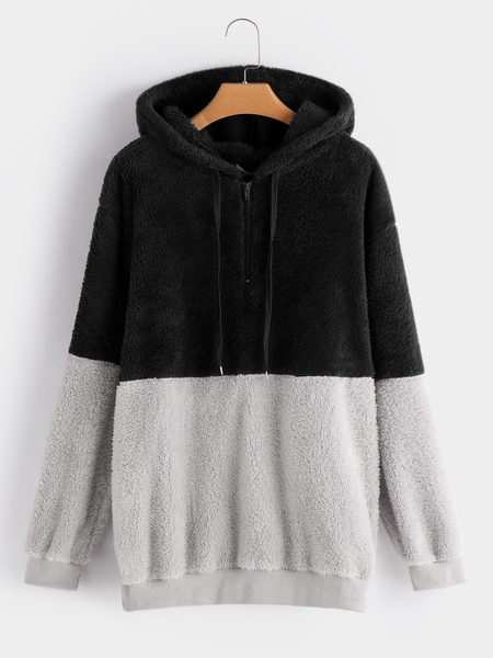 Plus Size Color Block Zip Faux Fur Hooded Sweatshirt