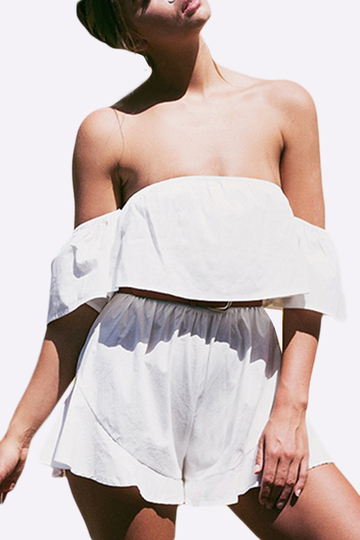 White Off The Shoulder Flounced Hem Playsuit With Short Sleeves