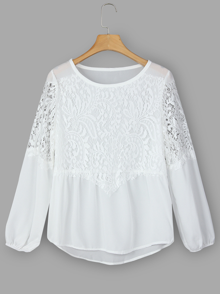 White Lace Insert Crew Neck Long Sleeves Blouse