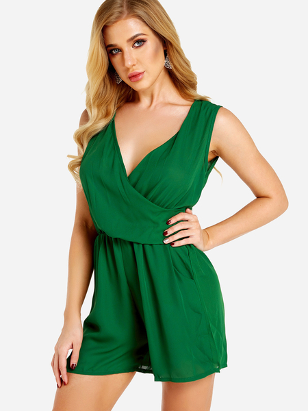 Green Crossed Front Design V-neck Stretch Waistband Playsuit