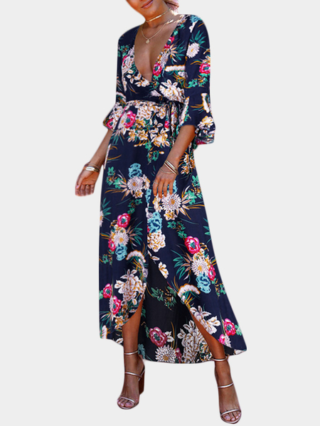 Blue Boho style Random Floral Print Deep V-Neck Flared Sleeves Dress