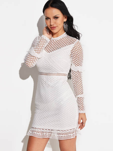 White Lace Hollow Out Hight Neck Long Sleeves Dress