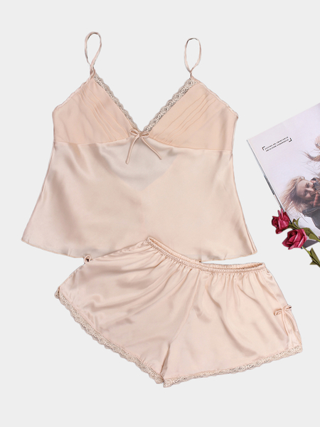 Champagne V-neck Bow Knot Detailed Pajama Set