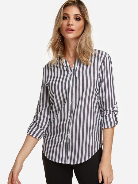 Grey Single Breasted Design Stripe Classic Collar Long Sleeves Shirt