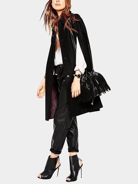 Black Turndown Collar Bat Sleeves Cape Coat