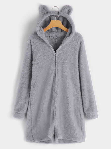 Grey Hooded Design Long Sleeves Plush Playsuit