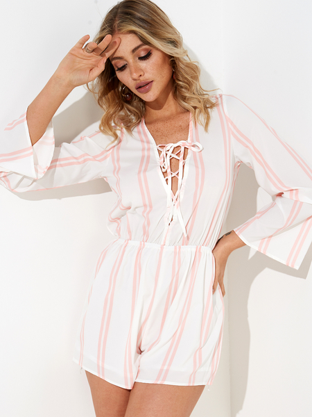 Long Sleeve Relaxed Bust Plunge Tie Up Detail Playsuit