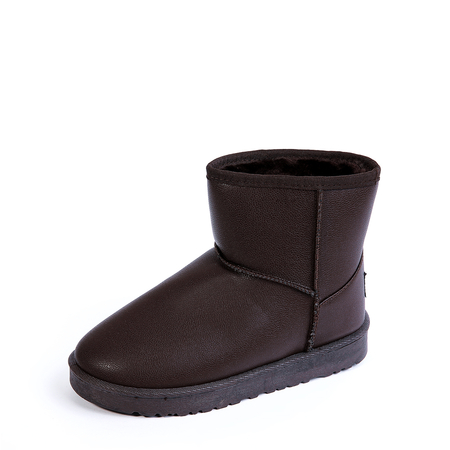 Coffee Fur-Lined Casual Snow Boots