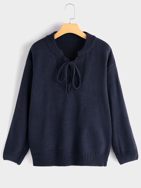 Navy Pullover Tie-up Design Long Sleeves Knitting Sweater