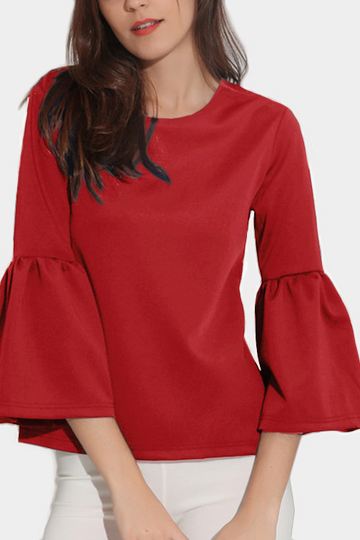 Red Round Neck Lantern Sleeves T-shirt