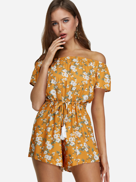 Yellow Off Shoulder Random Floral Print Playsuit With Short Sleeves