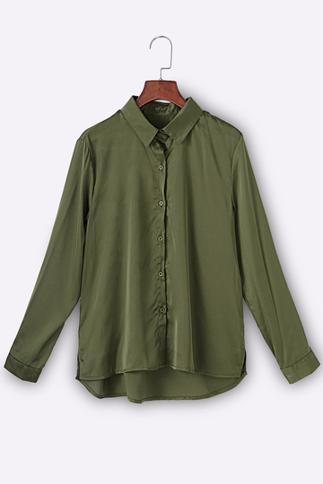 Army Green Embroidered Long Sleeves Shirt