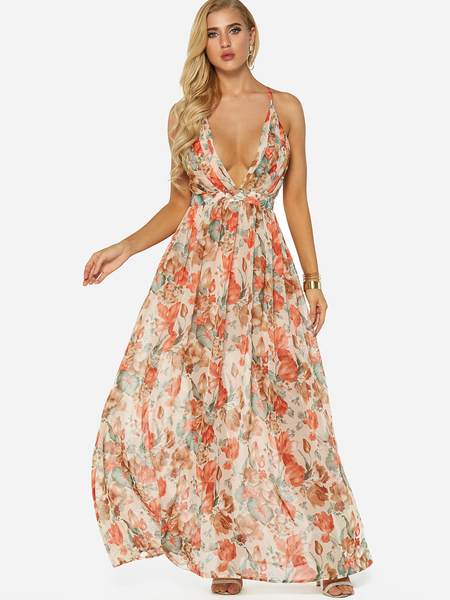 Random Floral Print Deep V-Neck Sleeveless Maxi Dress