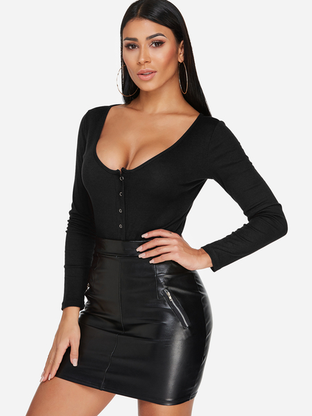 Black Button Design Plain Scoop Neck Long Sleeves Bodysuits