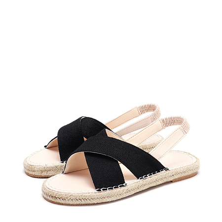 Black Canvas Straw Woven Flat Sandals