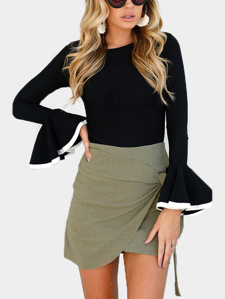 Black Plain Round Neck Flounced Sleeves Blouses