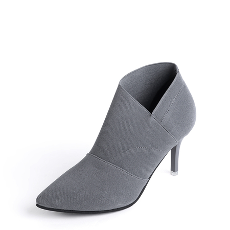 Yoins Grey Stretch Stiletto Ankle boots