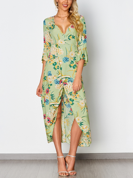 Green Random Floral Print V-neck Maxi Dress With Half Flared Sleeves
