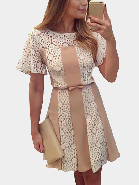 Beige Floral Lace Trim Round Neck Short Sleeves Chiffon Mini Dress