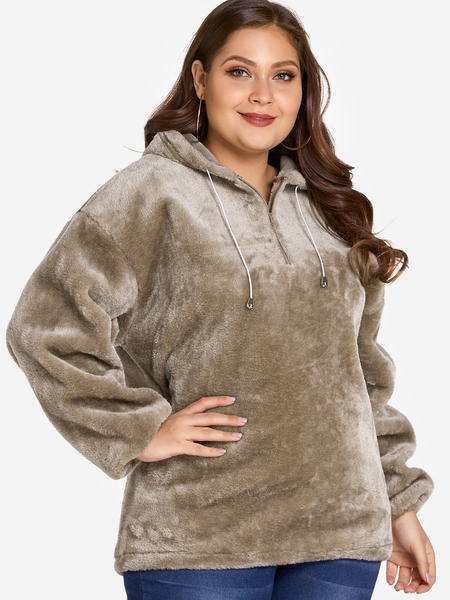 Plus Size Brown Faux Fur Hooded Sweatshirt