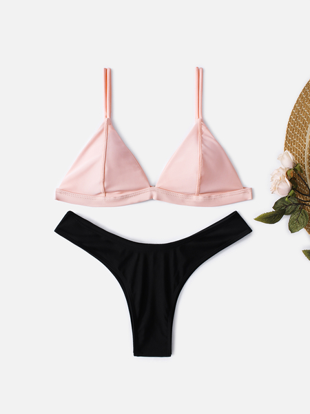 Pink and Black Chest Padded Bikini Set