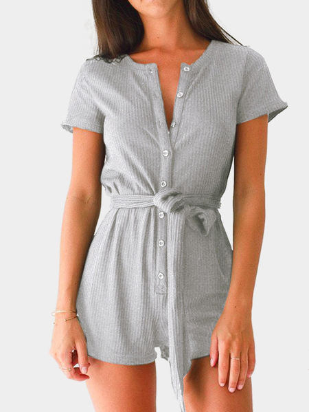 Grey Casual Round Neck Button Up Front Self-tie Playsuit