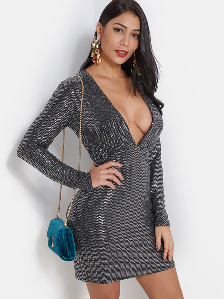 Black Sequins Embellished Wave Deep V Neck Dress