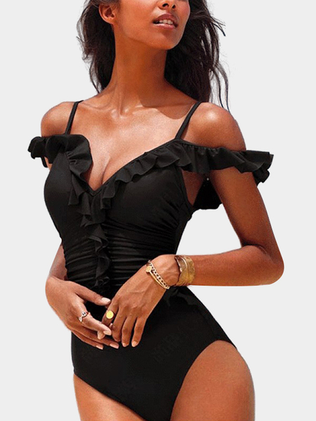 Black Sexy Deep V Neck Swimwear With Padded Chest