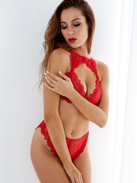 Red Lace Hollow Out Chest High-waisted Lingerie Set