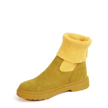 Yoins Yellow Knit Sock Short Boots