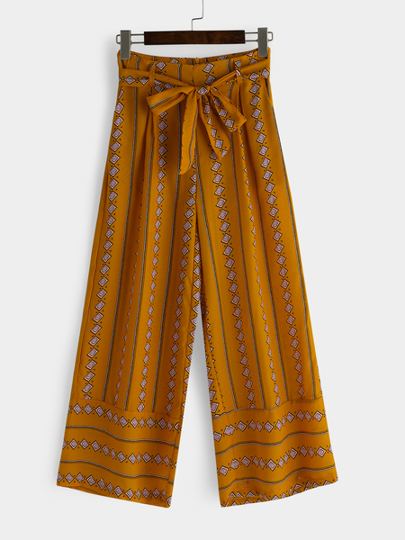 Yellow Printed Wide Leg Vacation Fashion Loose Pants