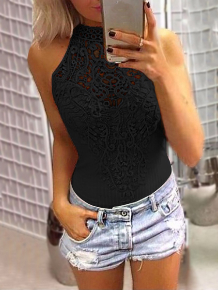 Black Sexy Floral Lace Overlay Hollow Out Halter Neck Sleeveless Bodysuit