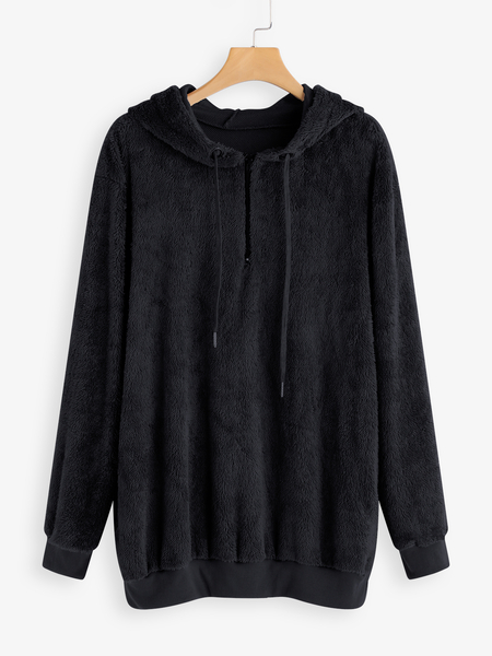 Plus Size Black Faux Fur Hoodie Sweatshirt