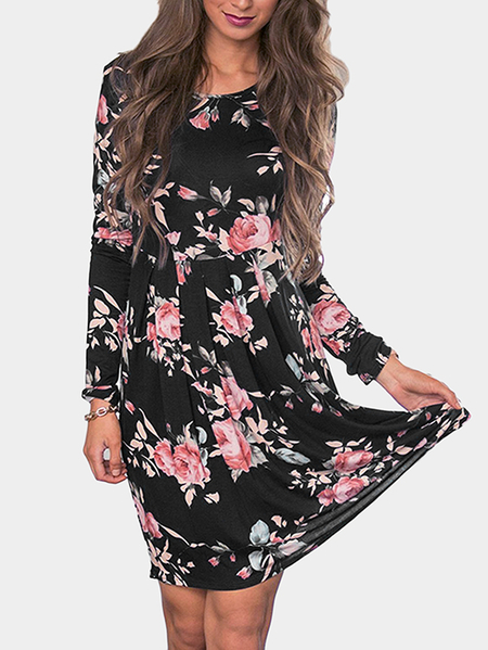 Black Random Floral Print Round Neck Knee Length Dress
