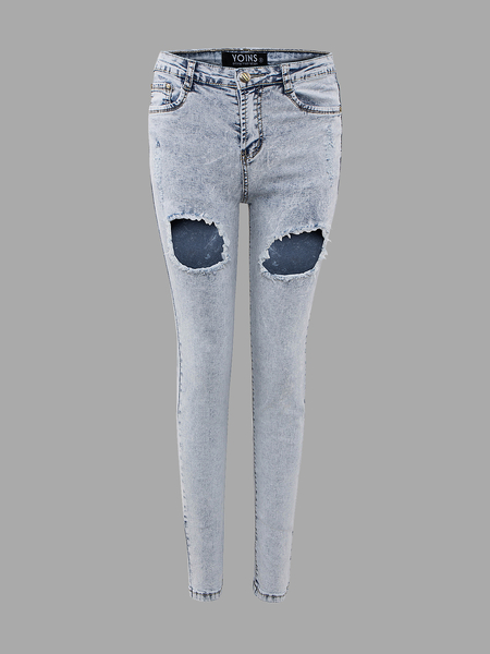 Skinny Jeans In Light Wash With Open Rips