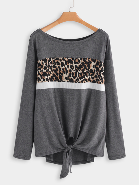 Grey Leopard knotted Fashion T-shirt