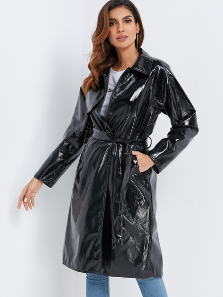 Yoins Black Single Breasted PU Leather Self-belt Trench Coat