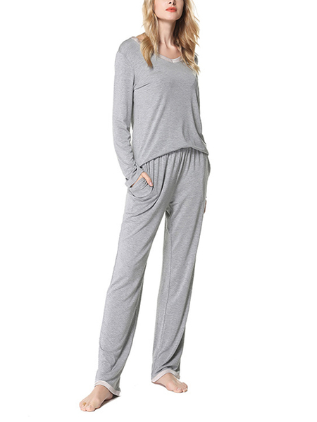 Grey Side Pockets V-neck Long Sleeves Pajama Sets