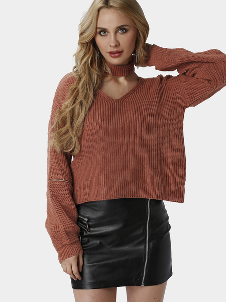 Fire Brick Fashion Drop Shoulder Zip Jumper With Neck Strap