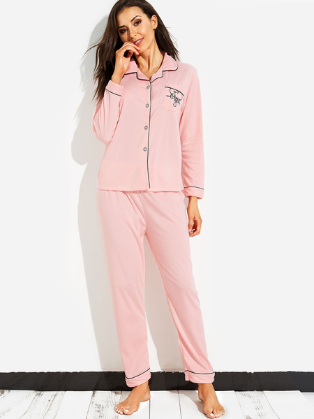 Light Pink Casual Pocket Front Pajamas Set